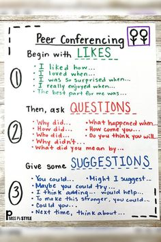 This helpful anchor chart is quick to make and provides sentence stems and a sequence for your students to have successful conversations with each other. Perfect for ESL kiddos or for building a routine with students beginning the conferencing process. Writing Lessons, Teaching Writing, Teaching Strategies, Writing Activities, Teaching English, Math Lessons, Teaching Themes, Vocabulary Activities, Preschool Worksheets
