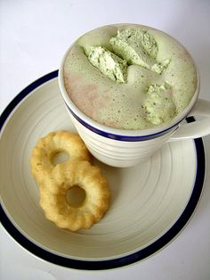 hot cocoa with matcha whipped cream. this sounds heavenly