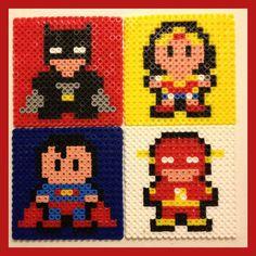 Superhero Coasters Superman, Flash, Batman, Wonder Woman perler beads by Melty Bead Patterns, Perler Patterns, Beading Patterns, Nerd Crafts, Diy Arts And Crafts, Filet Crochet, Perler Coasters, Sous Bock, 8bit Art