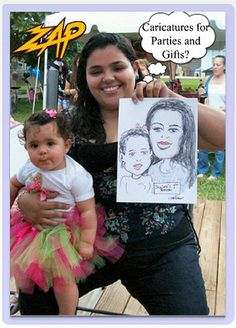 My 'weekend business' is fun. I draw caricatures at all types of events.Corporate picnics,weddings,Bar/Bat Mitzvahs,Communions. This photo from the baby's 1st Birthday Party in Hialeah (near Miami) Florida..was used (with permission) for a series of postcards..to inform event planners about my art services. The results were amazing. Less than $1 each..Including postage. Business owners are learning to 'reach out' to past customers,too. Click photo.