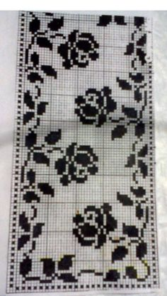 @nika Filet Crochet Charts, Crochet Borders, Cross Stitch Borders, Cross Stitch Designs, Cross Stitching, Cross Stitch Embroidery, Doily Patterns, Crochet Patterns, Crochet Dollies