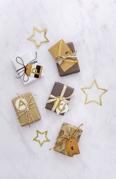 Christmas wrapping ideas for small parcels.