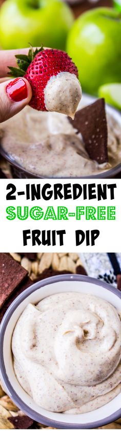 2-Ingredient Sugar-Free Fruit Dip from The Food Charlatan // This dip is not only delicious, but full of protein and healthy fats. Plus it's the easiest after-school snack ever! Win-win.