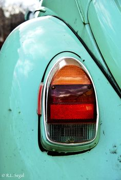 An old Turquoise Volkswagen Beetle Tail Light