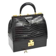 Authentic HERMES 24 FAUBOURG ST HONORE Hand Bag Black Crocodile Leather AK14448 #HERMS #HandBag