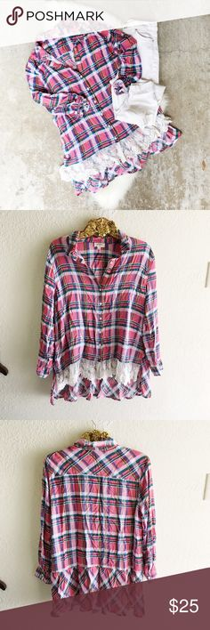 Plaid Lace Trim Button Up Excellent condition! No flaws. Boutique brand, Umgee. Listed as Anthropologie for exposure. Anthropologie Tops Button Down Shirts