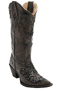 Corral® Women's Chocolate Fango Triad Black Sequin Inlay Pointed Toe Western Boots