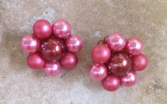 Vintage Pink Cluster Beaded Clip On Earrings Signed Japan on Etsy, $8.00