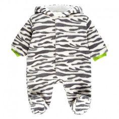 Pelele de pelo para bebés todoterreno, con estampado de zebra. Apropiado para los días de invierno.  http://www.kimukid.com