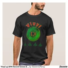 Vinyl 45 RPM Record Green & Red Christmas (Worn) T-Shirt
