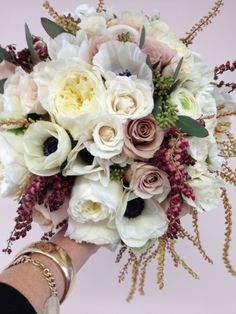 Bouquet made of garden roses, anemones, and pieris, Photo by Holly Chapple Flowers - http://thefullbouquetblog.com/