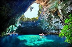 Melissani Cave, Cave of the Nymphs. Part of Kefalonia's underground lakes and caves.