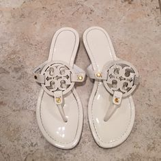 barely worn Tory Burch sandals Barely worn like new! as you can see the bottoms aren't even dirty. Does not come with a box. Patent leather Tory Burch Shoes Sandals