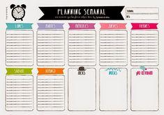 organizador planning semanal -Walo y Miriam Diy Agenda, Agenda Planner, Planner Pages, Weekly Planner, Happy Planner, Printable Planner Stickers, Free Printables, Planner Diario, Sketch Notes