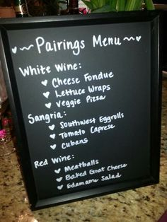 Wine and food pairing themed shower