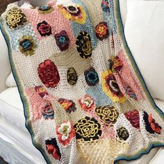 Floral detail and patchwork throw. I seriously love this so much!!