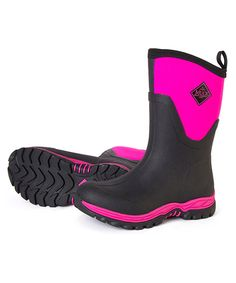 The Muck Boot Arctic Sport II mid-length wellies in pink are new from Muck Boot and with a slimmer fit are specifically designed for ladies. They are fleece lined with 5mm of neoprene for warmth and a new aggressive outsole which is highly resistant to slipping.      100% Waterproof     Slimmer fit for ladies     Stretch fit top-line binding     5mm neoprene     Four way stretch nylon     Comfort rated down to minus 40C     Aggressive slip resistant outsole