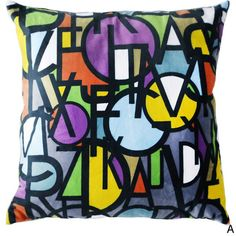 Maxwell Dickson Letter Stack 18-inch Velour Throw Pillow (Letter Stack D- 30x30) (Polyester, Abstract)