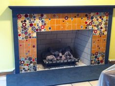 Mosaic tiles I made for this cool fireplace...