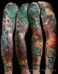 There are so many awesome super hero tattoo designs out there, here you will find the top 10 based on our writers pic. Marvel Tattoo Sleeve, Dc Tattoo, Hawk Tattoo, Avengers Tattoo, Paris Tattoo, Marvel Tattoos, Sleeve Tattoos, Super Hero Tattoos, Great Tattoos