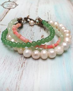 Your place to buy and sell all things handmade Strand Bracelet, Pearl Bracelet, Beaded Bracelets, Pearl Gemstone, Gemstone Beads, Water Pearls, Summer Accessories, Sea Glass Jewelry, Spring Colors