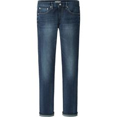 UNIQLO Men Stretch Slim Fit Straight Jeans (Selvedge) ($50) via Polyvore featuring mens, men's clothing and men's jeans