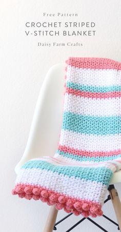 Easy Crochet Afghans Free Pattern - Crochet Striped V-Stitch Blanket Crochet Afghans, Crochet Baby Blanket Beginner, Crochet Motifs, Crochet Baby Blanket Borders, Striped Crochet Blanket, Baby Girl Crochet Blanket, Free Crochet Blanket Patterns Easy, Crochet Blanket Stitches, Crochet Edges For Blankets