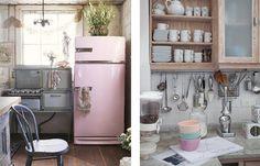 love the vintage stove & the pink fridge.