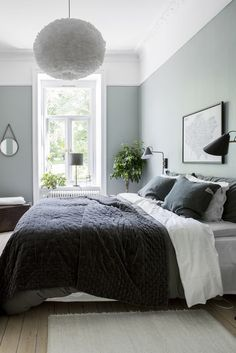 Gray and Sage Green Bedroom. Gray and Sage Green Bedroom. Gray and Sage Green Bedroom Gray and Sage Green Bedroom Home Bedroom, Bedroom Interior, Bedroom Green, Minimalist Bedroom, Modern Bedroom, Scandinavian Design Bedroom, Blue Bedroom, Bedroom Colors, Sage Green Bedroom