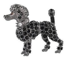 kenneth jay lane scottie dog pin   Kenneth Jay Lane Black Pave Crystals Miniature French Poodle Dog ...