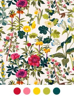 """Jobs Handtryck began hand printing textiles in debuting their collection to the public with a Stockholm department store exhibition titled """"when beauty came to town. Deco Floral, Motif Floral, Arte Floral, Floral Prints, Vintage Floral, Textile Patterns, Color Patterns, Print Patterns, Floral Patterns"""