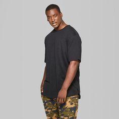 Men's Big & Tall Short Sleeve Drop Shoulder Slub T-Shirt - Original Use Black 5XBT