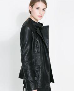 FAUX LEATHER SAFARI JACKET from Zara