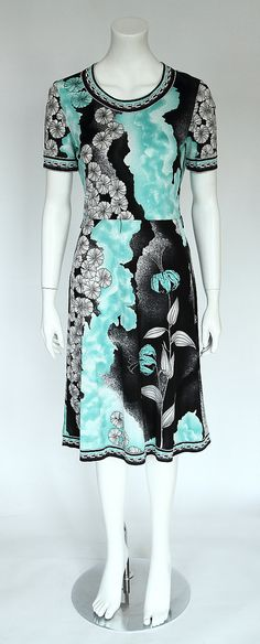 SALE !!! Probably French 1970ies Vintage LÉONARD STYLE Turquoise and Black Flowerprint Jersey Short Sleeve Summer Dress, ca. Size S