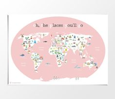 Printable Kids Pink World Map Poster A4 A3 8x10 by KikkerCreaties