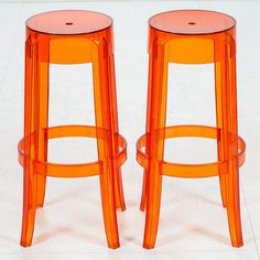 Philippe Starck, leima CHARLES GHOST BY KARTELL WITH STARCK. Philippe Starck, Bar Stools, To My Daughter, 1960s, Orange, Furniture, Home Decor, Bar Stool Sports, Decoration Home