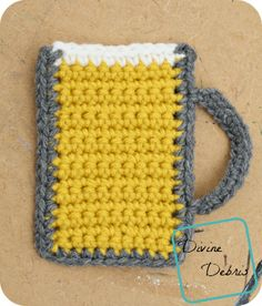 Free Mug of Beer crochet applique by DivineDebris.com