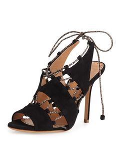 Suede Lace-Up Sandal, Black/Natural by Alexa Wagner at Neiman Marcus.