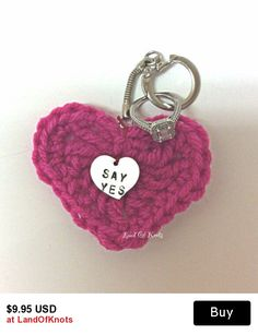 Valentine's day, Personalized keychain, crochet heart keychain, heart key ring,engagement gift, hand stamped heart k