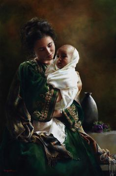 Bearing A Child In Her Arms by Elspeth Young.  I love this painting!  Elspeth is as nice of a person as she is a amazing artist.
