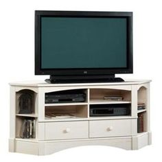 Harbor View Collection 61 In. Antiqued White Corner Entertainment Credenza