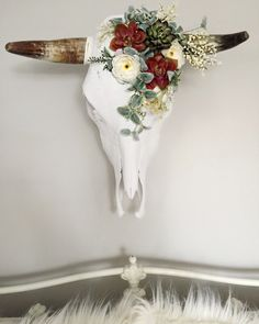 Bohemian Floral/ Succulent Cow Skull Wall Decor by RoseAndRoyce