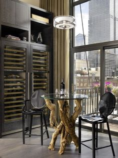 Contemporary Wine Cellar Design, Pictures, Remodel, Decor and Ideas - page 2 Micro Apartment, Chicago Lofts, Home Wine Cellars, Small Dining Area, Wine Cellar Design, Wine Design, Muebles Living, Urban Loft, Wine Fridge