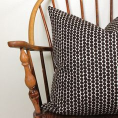 "Hable Construction Bead in Espresso 20"" Pillow Cover on Cotton Canvas"