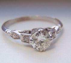 Art Deco Diamond Engagement Ring. Vintage. Quality White Gold & Platinum. Old European Cut Diamond full of Character and Sparkle.. $1,840.00, via Etsy.