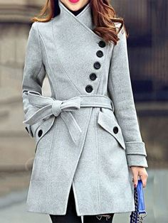 I really like this kind of coat look - with some unique design element. Elegant Stand Collar Candy Color Belt Design Long Sleeve Coat For Women Mode Outfits, Winter Outfits, Fashion Outfits, Womens Fashion, Style Fashion, Fashion Ideas, Teen Fashion, Winter Clothes, Fashion 2016