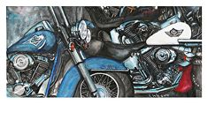 Harley-Davidson-Motorcycles-Painting-Reggie-Wright by reggie Wright in the FASO Daily Art Show