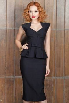 New Stop Staring! collection -  This Black Icon Peplum dress will be your new favourite go-to Little Black Dress! It will make you feel absolutely fabulous, like a Hollywood starlet!