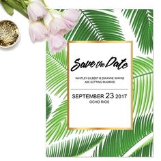 Tropical Save the Date Template by denamj on @creativemarket