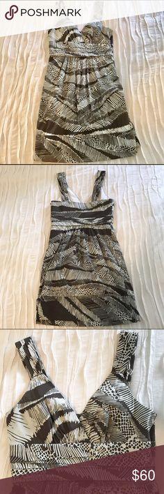 BCBGMaxAzria Poplin Safari Printed Day Dress Poplin Safari Printed Dress                                                                  Sleeveless with Empire Waist                                                             Color: Cocoa Combo, Light Brown & Off-White BCBGMaxAzria Dresses Mini